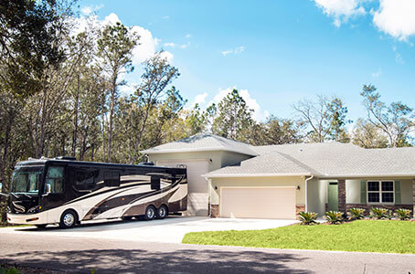 Custom Home with RV in Driveway